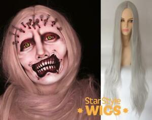 DELUXE EXTRA LONG LIGHT GREY GHOST WITCH ZOMBIE HALLOWEEN STRAIGHT COSTUME WIG