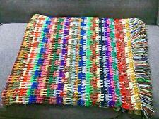 "Vintage Hand Crochet Afghan Rainbow Striped Fringe 65"" X 93"""