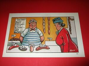 Saucy Quip COMIC postcard Rude BUTCHER naughty sausage FREE TO LADY