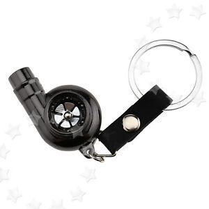 Real Whistle Sound Turbo Keychain Spinning Turbine Key Chain Ring Keyring Black