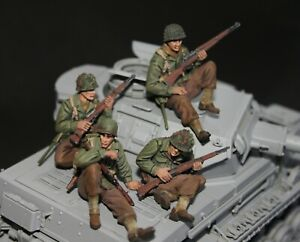 1/35 Painted WWII US Tank Riders - 4 Resin Figures