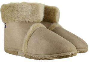 Coolers Mens Hard Sole Beige Warm Lined Furry Slippers Ankle Boots