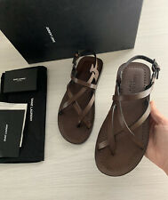 Saint Laurent Women's Brown Leather Sandals Slides Shoes Size 36 NEW RRP £425