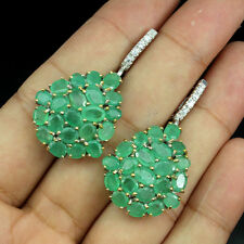 Gorgeous Natural Top Rich Green Emerald Brazil W Cz 925 Sterling Silver Earrings