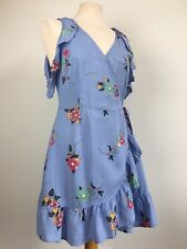 Cotton On Blue Floral Ditsy Mini Wrap Over Summer Dress Size Small 8 10