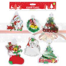 6 Christmas Window Plaques Party Decoration Glass Door Sign Santa Snowman Wreath