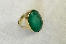 HUGE GREEN OVAL ROUGH EMERALD OR CHRYSOPRASE 14K SOLID YELLOW GOLD RING 5.75 6