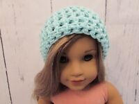 """Cute Light Turquoise Crocheted Hat fits American Girl Dolls 18"""" Dolls"""