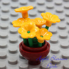 NEW Lego Friends Minifig Dk Red FLOWER POT Yellow Pansy Flowers Green Plant Stem