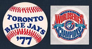 Toronto Blue Jays 1977 1st Season & 1992 1993 World Series Champions Sticker Lot