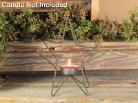 Country new STAR tealight candle holder in distressed Tin