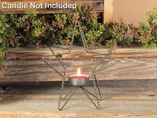 Country new small braided wire STAR tealight candle holder / nice