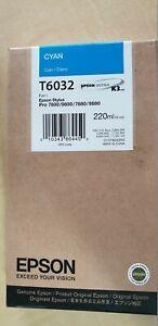 Genuine Epson Stylus Pro 7800/9800/7880/9880 Cyan Toner T6032 C13T603200 New