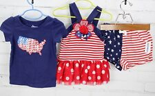 American Flag Outfit Lot T-Shirt + Dress + Shorts Toddler Girls 2T Patriotic