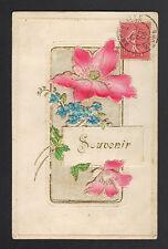 SOUVENIR / Fleurs Miosotis / à systéme Soie & Gaufrée en 1906