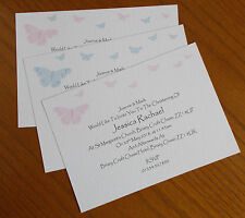 Personalised Christening Baptism Naming Invitations with envelopes butterflies