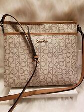 Calvin Klein Saffino leather monogram Hayden crossbody handbag adjustable Zipper