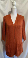 Chico's Women's Size 0 Orange Open Front Cardigan Cable Knit Sweater W/Pockets