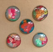 5 Decorative Maps Thumb Tacks, Pushpins, Cork Board, Glass Cabochon