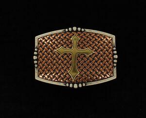 Gold CROSS ~ Square WESTERN BUCKLE ~ Silver, Copper Basket NOCONA 37115