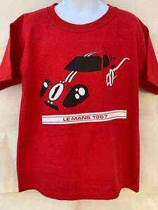 YOUTH / KID's 1967 FORD GT40 T SHIRT LeMANS 24 HOURS RACE SHELBY RACING GT-40