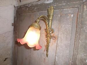 French antique patina awesome  bronze wall light gorgeous glass shade