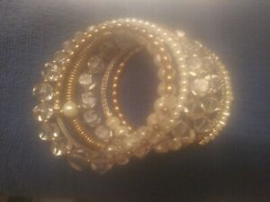 Stunning SILPADA KR Glass Bead Swarovski Crystal 7 Pearl Wrap Spiral Bracelet