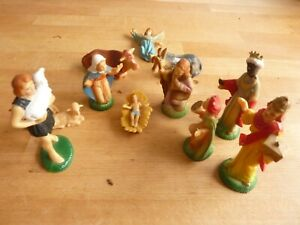 Vintage 1960s NATIVITY SCENE 12 hollow rigid plastic figurines HONG KONG