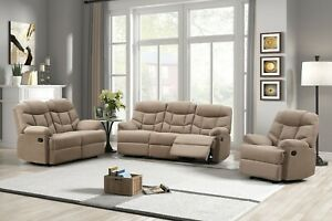 Mocha Brown Fabric 3PC Sofa Loveseat Chair 5-Recliner Upholstered Living Room