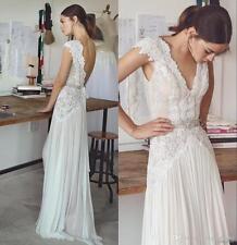 Lace Cap Sleeve Chiffon Bohemian Beach Wedding Dress Bridal Gown Custom 4 6 8 ++