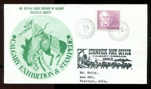p93 - Canada CALGARY STAMPEDE 1963 Cover. Rodeo & Post Office Cachets