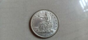 1877 Rare US United States Trade Dollar Silver Coin In Uncirculated Condition