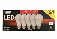 Feit Electric 5 Pack of LED Non-Dimmable 60 Watt/9.5 Watt Replacement Soft White