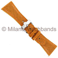 26mm Glam Rock Orange With Holes Genuine Calf Leather Watch Band EZ PINS