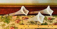 3 FENTON French EPERGNE glass HOBNAIL White OPALESCENT FLOWER Ruffled Horn NICE