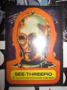 STAR WARS VINTAGE CARD TOPPS STICKERS SEE-THREEPIO N°5 1977 SERIE 1 USED