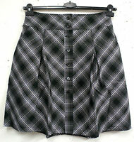 NEU schicker Damen Karo Rock leicht ausgestellte Form A-Line schwarz grau Gr. 40