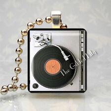VINTAGE TURNTABLE PHONOGRAPH RECORD PLAYER DJ MUSIC Scrabble Tile Art Pendant