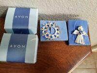Avon Angels of Harmony Pin 2002  & 2003 Angel Rose Pin W/ Original Box