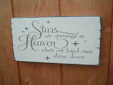 Chic and Shabby vintage STARS ARE OPENINGS IN HEAVEN sign plaque 8x4