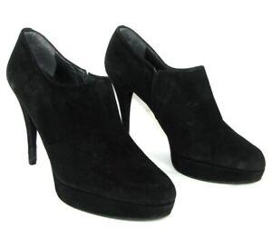 Stuart Weitzman Boots Heels 12 CM Plateau Leather Velvet Black Suede 39 Fine