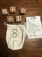 Large Wooden Jumbo Dice Set - 5 pcs Big Yard Dice with Bag