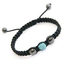 Light Blue Crystal Charm Bracelet with Hematite Beads  Hand Braided Bracelet