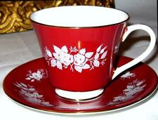 Aynsley DARK BLOOD/RED & WHITE ROSES Tea Cup and Saucer Bone China c.1940s