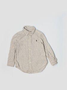 Boy Ralph Lauren Polo Black Yellow Check Dress Button Down L/S Shirt Size 4