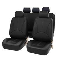 4Pcs Leather Universal Car Seat Covers Set Front Rear Headrest Cover Black