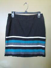 White House Black Market Teal Stripe Pencil Skirt 4 Small S