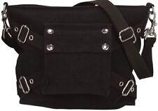 Ladies Black Stone Washed Shoulder Bag Canvas Military Biker Purse Girls Women