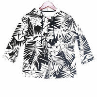 Onque Casuals Women's White Floral Palm Full Zip Hoodie Sweatshirt - Size Small