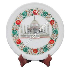 """12"""" Marble Round Plate Tajmahal Multi Inlay Floral Arts Giving Gift Decor H1436"""